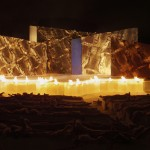 OUTDOOR STAGE, reindeer skin, snow, ice, fire and wood, collaborators: MAF architects Arnqvist and Cettner, Jokkmokk 2005